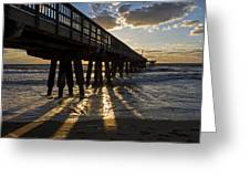 Pompano Beach Fishing Pier At Sunrise Florida Sunrays Greeting Card