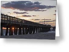 Pompano Beach Fishing Pier At Sunrise Florida Greeting Card