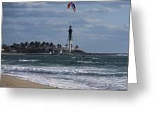 Pompano Beach Kiteboarder Hillsboro Lighthouse Catching Major Air Greeting Card