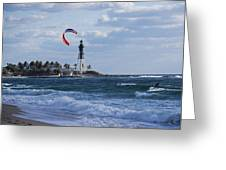 Pompano Beach Kiteboarder Hillsboro Lighthouse Greeting Card