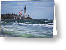 Pompano Beach Kiteboarder Hillsboro Lighthouse Waves Greeting Card