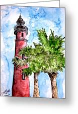 Ponce De Leon Inlet Florida Lighthouse Art Greeting Card