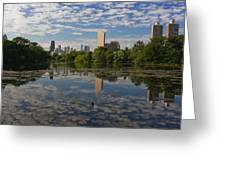 Pond And The Chicago Skyline Greeting Card