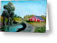 Pond By The Red Barn Dreamy Mirage Greeting Card
