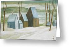 Pond Farm In Winter Greeting Card