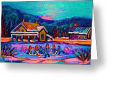 Pond Hockey Two Greeting Card