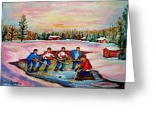 Pond Hockey Warm Day Greeting Card