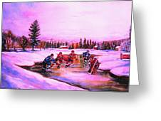 Pond Hockey Warm Skies Greeting Card