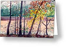 Pond In Fall Greeting Card