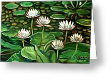 Pond Of Petals Greeting Card