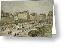 Pont Neuf Snow Effect Greeting Card