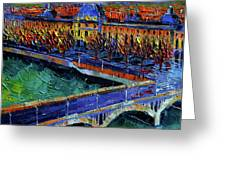 Pont Wilson And Hotel Dieu De Lyon By Mona Edulesco Greeting Card
