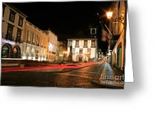 Ponta Delgada At Night Greeting Card