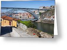 Ponte Luiz I Between Porto And Gaia In Portugal Greeting Card