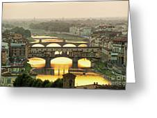 Ponte Vecchio Enlighten By The Warm Sunlight, Florence. Greeting Card
