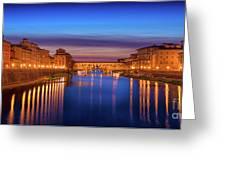 Ponte Vecchio Nigth Panorama Greeting Card