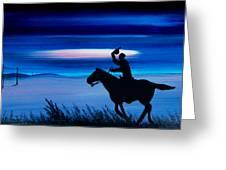 Pony Express Rider Blue Greeting Card