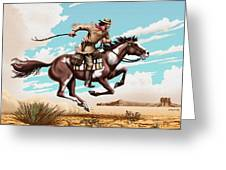 Pony Express Rider Historical Americana Painting Desert Scene Greeting Card