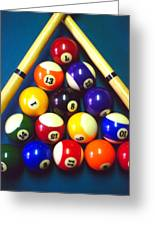 Pool Balls And Cue Sticks Greeting Card