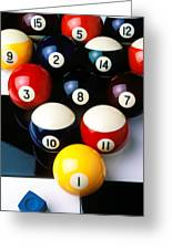 Pool Balls On Tiles Greeting Card by Garry Gay