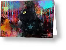 Pop Art Black Cat Painting Print Greeting Card