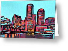 Pop Art Boston Skyline Greeting Card