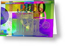 Pop-art Colorized One Hundred Euro Bill Greeting Card