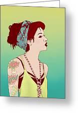 Pop Art Lady Greeting Card