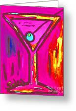 Pop Art Martini  Pink Neon Series 1989 Greeting Card