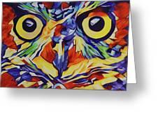 Pop Art Owl Face-1 Greeting Card