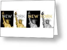Pop Art Statue Of Liberty - New York New York - Panoramic Golden Silver Greeting Card