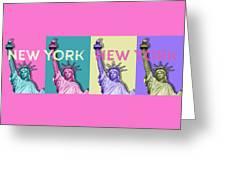 Pop Art Statue Of Liberty - New York New York - Panoramic Greeting Card