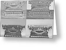 Pop Art Typewriter Collage Black And White Greeting Card
