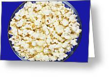 Popcorn In Glass Bowl On Blue Background Greeting Card