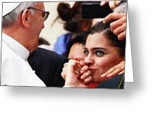 Pope Francis And Woman Painting  Greeting Card
