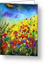 Poppies And Blue Bells Greeting Card