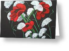 Poppies And Lace Greeting Card