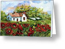 Poppies And Laundry Greeting Card