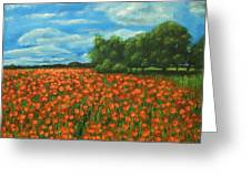 Poppies Field Original Painting Greeting Card