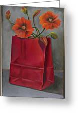 Poppies In A Red Bag Greeting Card