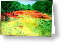 Poppies In The Almond Grove Greeting Card