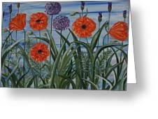 Poppies, Iris, Giant Alium Greeting Card