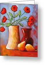 Poppies N Pears Greeting Card
