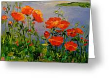 Poppies Near The River Greeting Card