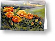 Poppies On A French Hillside Greeting Card