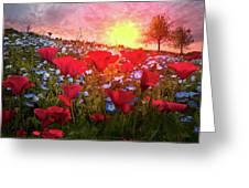 Poppy Fields At Dawn Greeting Card