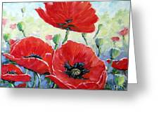 Poppy Love Floral Scene Greeting Card
