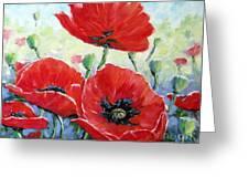 Poppy Love Floral Scene Greeting Card