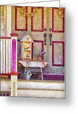 Porch - Cranford Nj - The Birdhouse Collector Greeting Card by Mike Savad