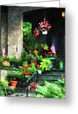 Porch With Geraniums And American Flags Greeting Card
